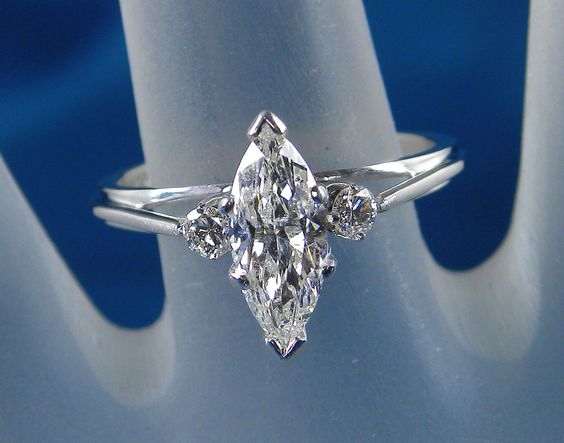 1.10 Carat Total Weight Genuine Marquise Center Diamond Ring – 14KT White Gold