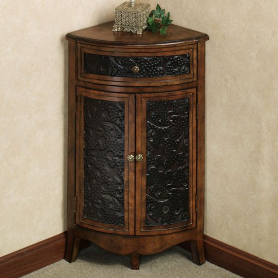 Small Wood And Metal Corner Wine Cabinet With Door