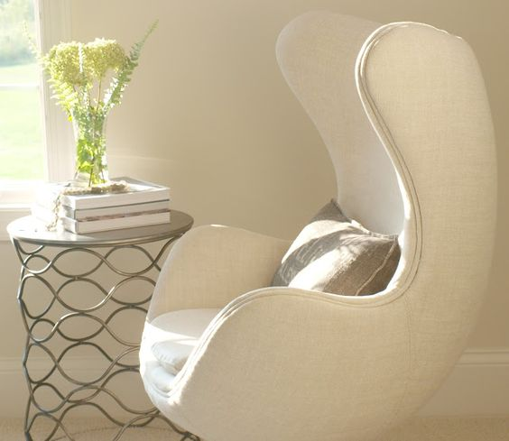 Belgian linen Copenhagen egg chair (RH)/round steel side table/Belgian style/Hello Lovely Studio