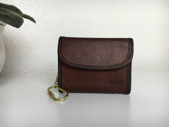 90's Coach Brown Wallet with Key Carabiner by HistoricalLaughter