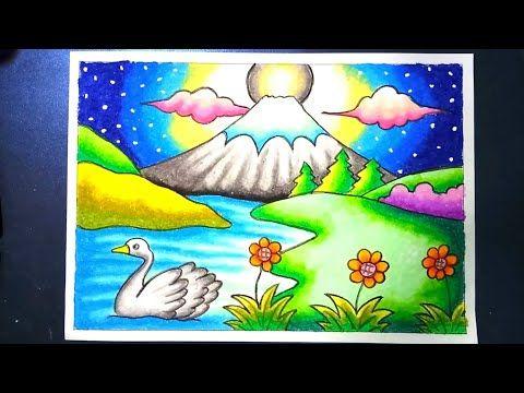 Menggambar Dan Mewarnai Pemandangan Alam Gunung Fuji Dengan Gradasi Crayon Drawing Mountain Scenery Youtube Seni Krayon Lukisan Pemandangan Kota Krayon