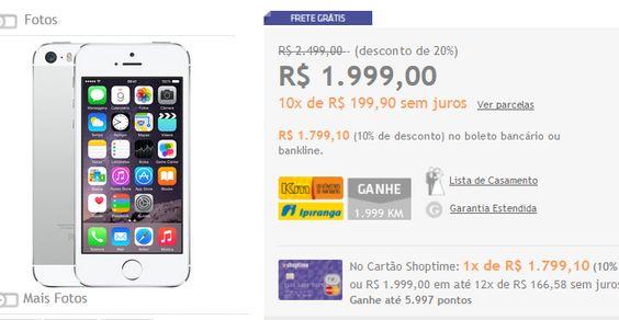 iPhone 5S 16GB Cinza Espacial IOS 8 4G Wi-Fi Câmera de 8MP << R$ 179910 >>