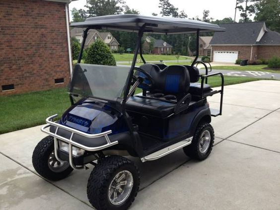 """This is my cart. 2007 48volt Electric Club Car Precedent. >>> It has: 6' Jake's Spindle Lift 23x10.5x12 RHOX Mojave II 4 Ply Tires RHOX 12"""" Polished Aluminum Wheels Stainless Steel Brushguard Two-tone Custom Vinyl Seats JVC KD-S37 HD Receiver w/remote Bazooka Subwoofer Tinted Folding Windshield Blue LED - Overhead Light Kit Blue LED - Underbody light Kit Stainless Steel Nerf Bars 5 Panel Mirror Bar"""