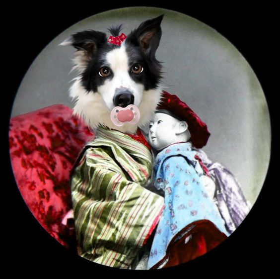 Bella chibi. Anthropomorphic digital dog art.