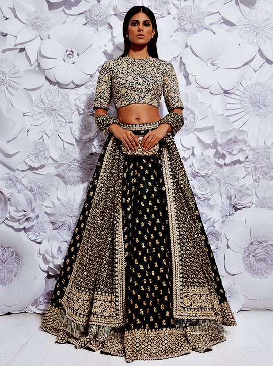 Indian Lehenga Choli Designs For Wedding Detailed Black Sabyasachi Mukherjee