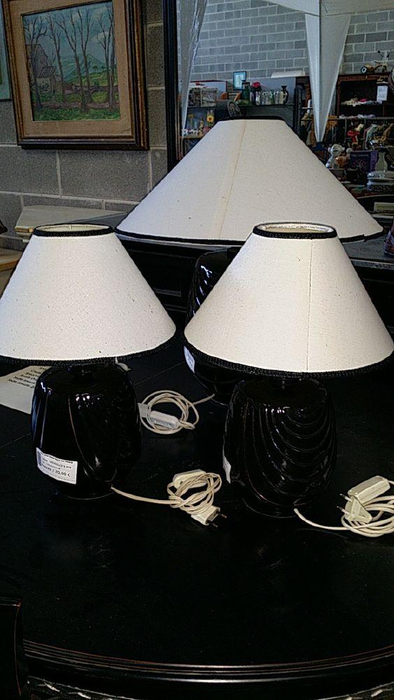 Lampade da tavolo nere trittico in ceramica