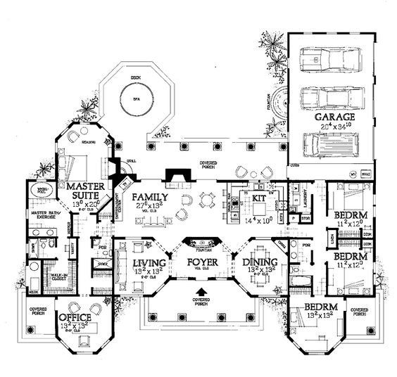 Independent And Simplified Life With Garage Plans With: 1 Story Mediterranean Home With