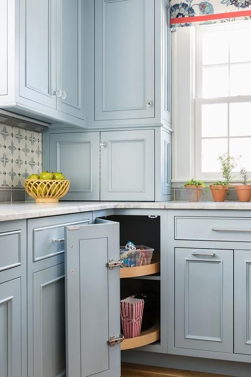 Cornerflower Blue Kitchen Cabinets Are Fitted With A Corner Lazy
