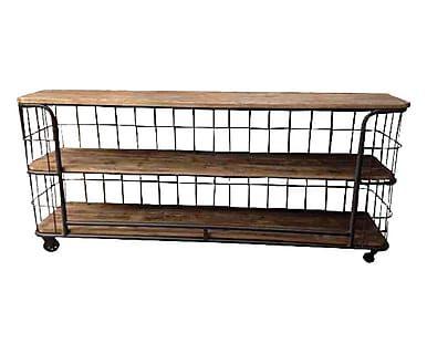 Mobiletto 3 ripiani in ferro e legno di pino marrone/nero, 181x81x40 cm