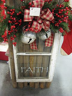 salvaged window decor - love the etched message in keeping with the true meaning of the season