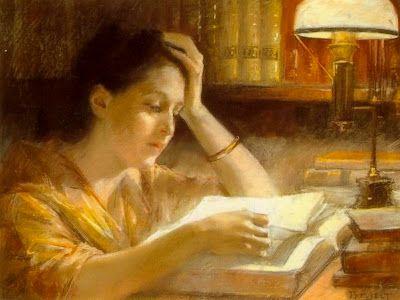 """""""Lukeva Ninen"""" / Reading Girl, 1885 - Albert Edelfelt (1854-1905)."""