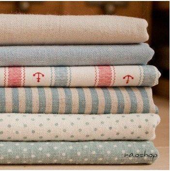 "Cotton Linen Fabric Cloth -DIY Cloth Art Manual Cloth -Stripe Anchor Cloth Set 6'Pieces 19x13 Inches "" Each"