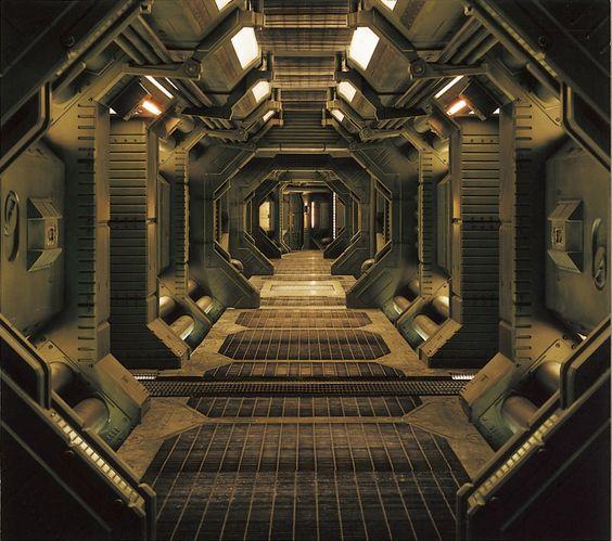 Stock Photo - Interior of an industrial or spaceship corridor: