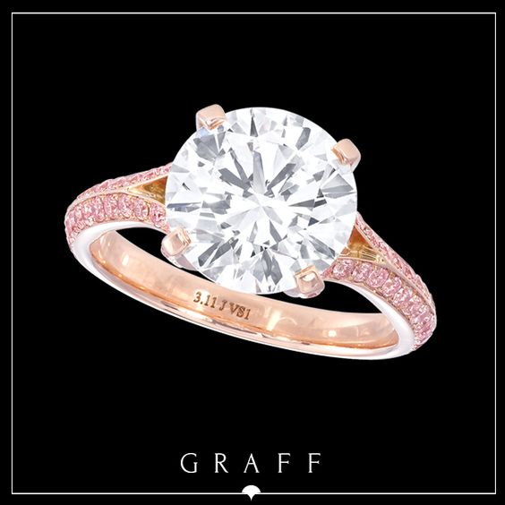 """Signature Style"" 3.11ct Round Diamond Ring with Pink Pavé Shank.  #graffdiamonds #graff #bridal #wedding #engagement #ring #pinkdiamonds"