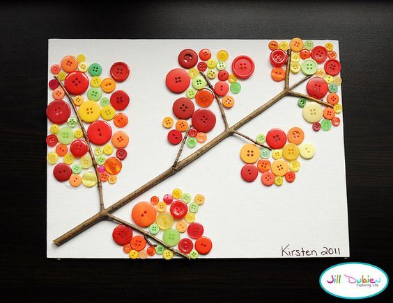 Checkout this great post on MPM School Supplies Blog!  Jill of Meet the Dubiens created this adorable fall button branch – with an actual tree branch! The groupings of colorful buttons are super cutesy!