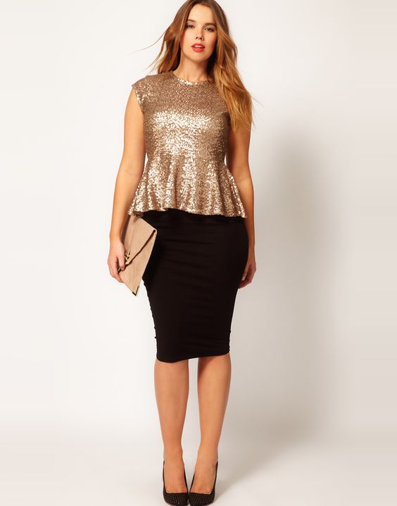 ASOS CURVE - Peplum Top In Sequin: