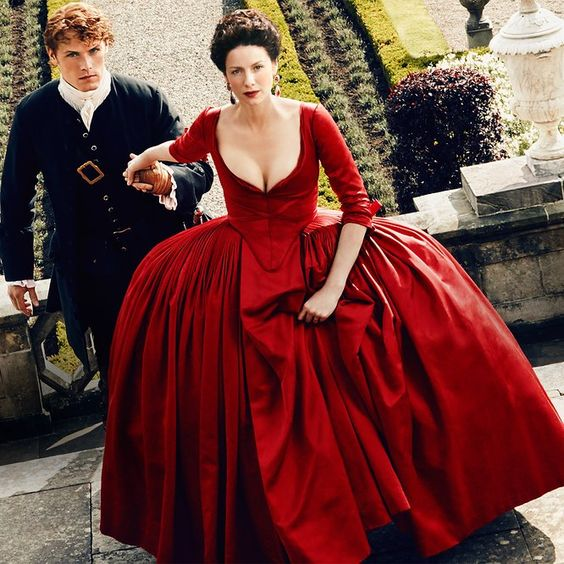 Sam Heughan and Caitriona Balfe in Outlander (2014) - Click to expand