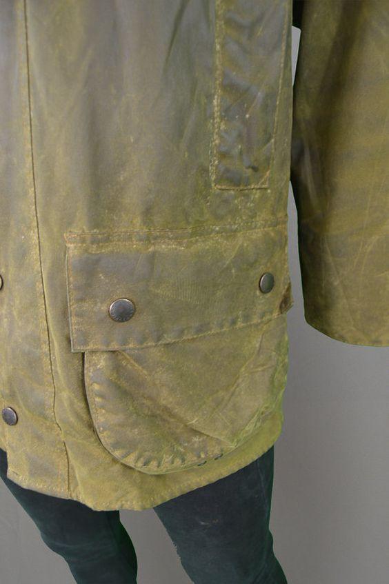 Rare Vintage BARBOUR Moorland A50 cire veste Vert par ZeusVintage