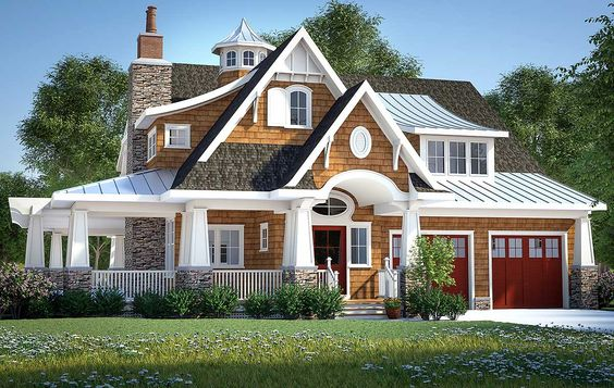 Plan 18270be gorgeous shingle style home plan craftsman for Craftsman wrap around porch