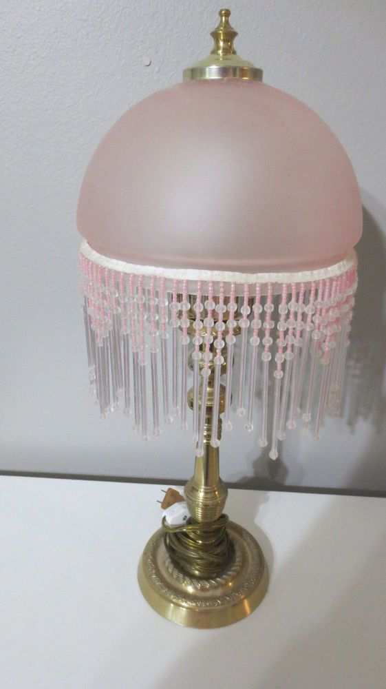 Vintage Style Frosted Pink Glass Fringe Dome Beaded Shade Table Lamp Beaded Lamps Lamp Pink Glass