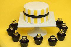 Hochzeitstorte modern mit Cupcakes gelb schwarz  cOOkies - Buzzin ...