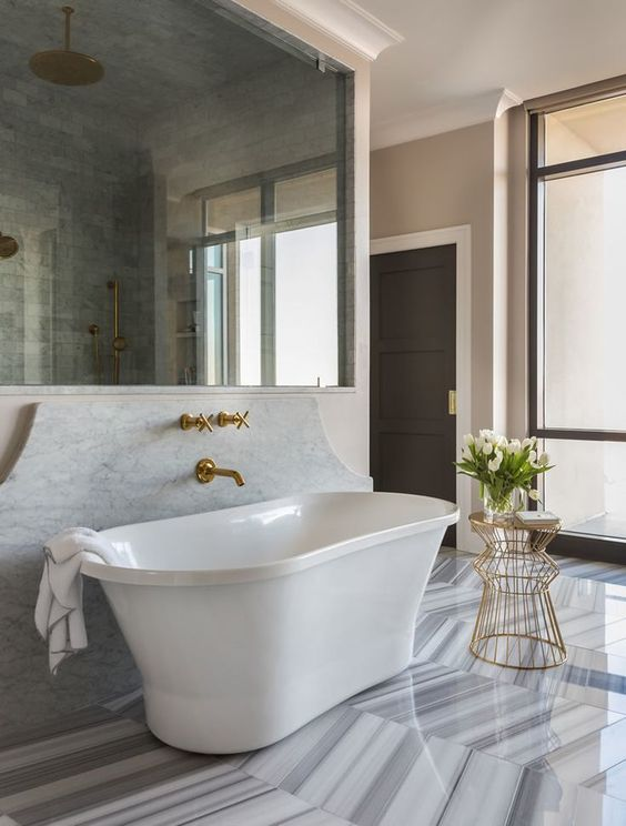 riverside penthouse - marble and brass   tobi fairley: