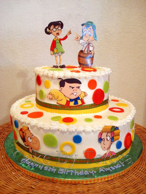Chavo del Ocho and Chilindrina cake I made. Characters are from a Mexican comedy show.: