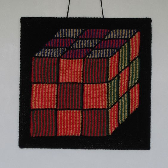 Shadow Knitting Patterns : Rubiks Cube Illusion Knitting Pattern Crafts, Illusions and Knitting p...