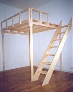 Hochbett 200 x 200 mit Treppe und Schlafgeländer für Erwachsene und Kinder