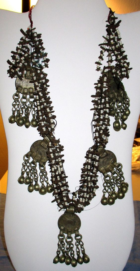 "Necklace Vintage Coin Dangle Afghan Kuchi Tribal Alpaca Silver 20"""