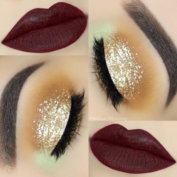 Maquiagem sombra glitter dourado