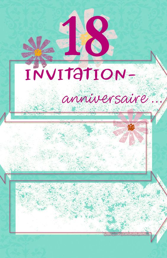 carte invitation anniversaire de 18 ans gratuite a imprimer pour fille anniversaire. Black Bedroom Furniture Sets. Home Design Ideas