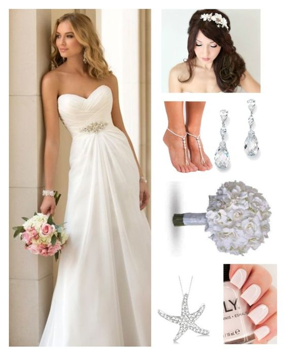 """""""beach wedding"""" by heckerts ❤ liked on Polyvore featuring Palm Beach Jewelry and Allurez"""