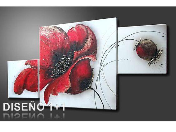 Cuadro flores pintado a mano con acr lico sobre lienzo for Cuadro en lienzo modernos