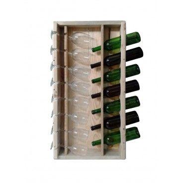 Mueble botellero y copero hecho con madera recuperada de - Botelleros de madera para vino ...
