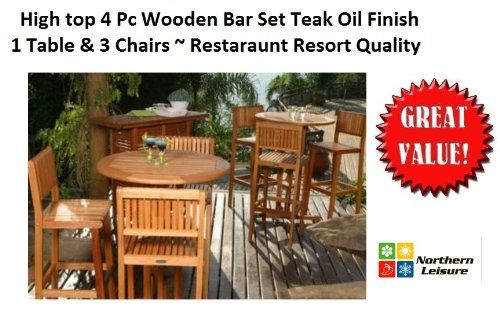 PC OUTDOOR PATIO BAR SET HIGH TOP TABLE CHAIRS TEAK OIL FINISH - Teak high top table