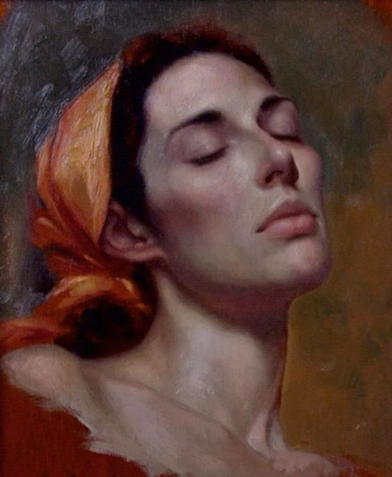 Artist: Kamille Corry (b. 1966), oil on canvas {figurative realism art female head woman face cropped painting} kamillecorry.com: