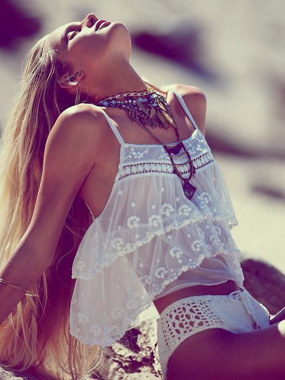 Beautiful bohemian chic! Femme Fatale crop top and crocheted bottoms sold separately-Free People--May Catalog: