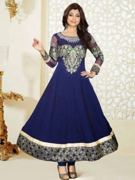 Navy Blue Georgette Anarkali Suit With Resham And Zari Embroidery Work