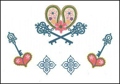 """Heart & Keys Temporaray Tattoo by Tattoo Fun. $3.95. This is a colorful Temporary tattoo of four aqua colored keys all above hearts that are made out of two pink leaves. All of the images together measures approx 2 1/2"""" long x 3 1/2"""" wide."""