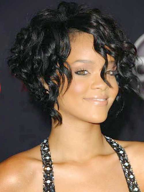 Short Curly Stacked Bob Hairstyles For African American Women