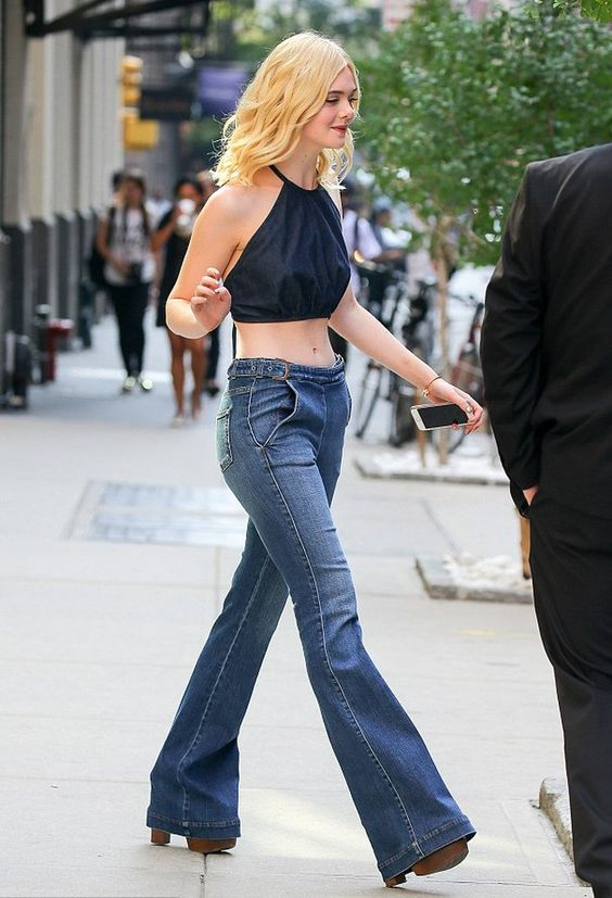 Elle Fanning in Flare Jeans