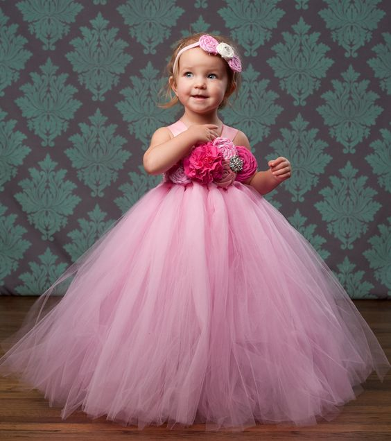 Flower Girl Tutu Dress in Pink Bubble Gum by TheLittlePeaBoutique, $114.00: