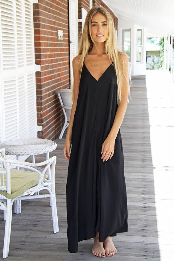 BLACK FLOWY MAXI DRESS -ustrendy www.ustrendy.com - Dresses Under ...