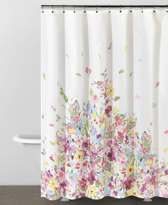 Curtains Ideas bed bath and beyond bathroom curtains : Delicate watercolour flowers on a shower curtain from DKNY at Bed ...