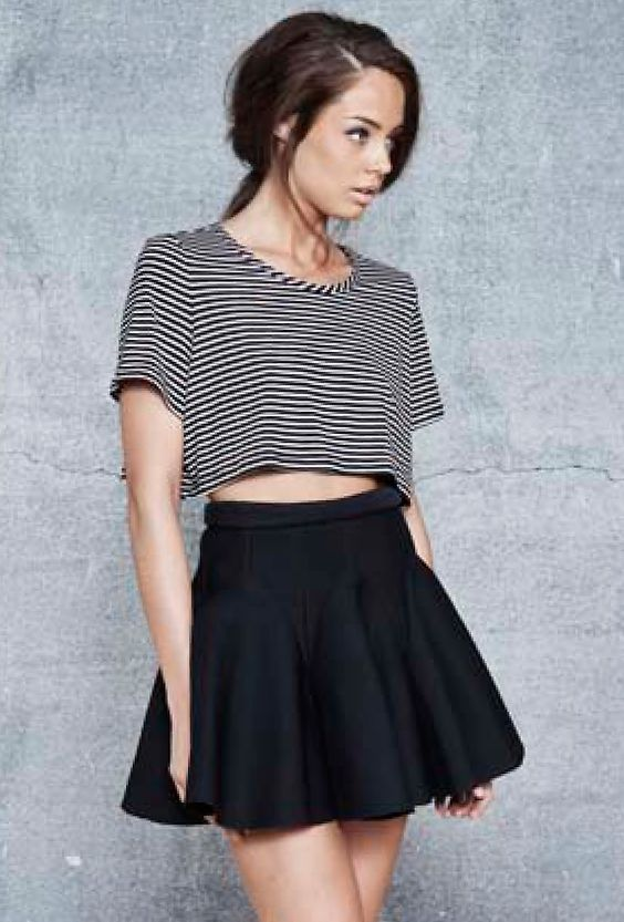 striped cropped shirt with high waisted skirt closet