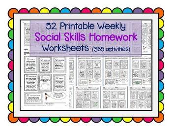 Social Skills Weekly Homework / Worksheets 365 activities Speech ...