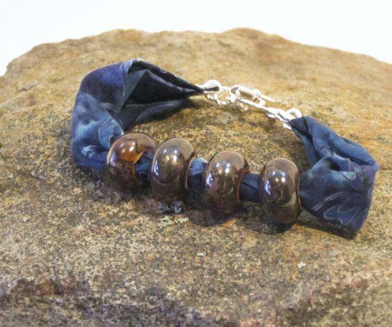 Denim Blue Batik Bracelet with Brown Porcelain by thimbledoodle, $8.50