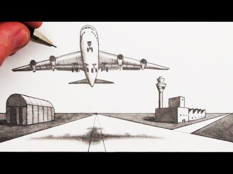 Learn How To Draw An Airplane And Airport In 2 Point Perspective