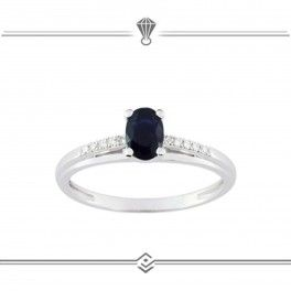 Solitaire saphir bleu et diamants - Or blanc 750/1000 - 18 carat gold